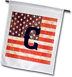 3dRose Russ Billington Monograms-Star and Anchor - Initial C- Distressed Vintage Look United States Flag with Monogram - 12 x 18 inch Garden Flag (fl_298795_1)