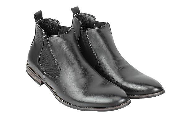 Xposed Botas de Ante Chelsea Italiano Estilo Elegante y Casual Retro Desierto Concesionario Mid Tobillo Zapatos, Color Azul, Talla 42.5