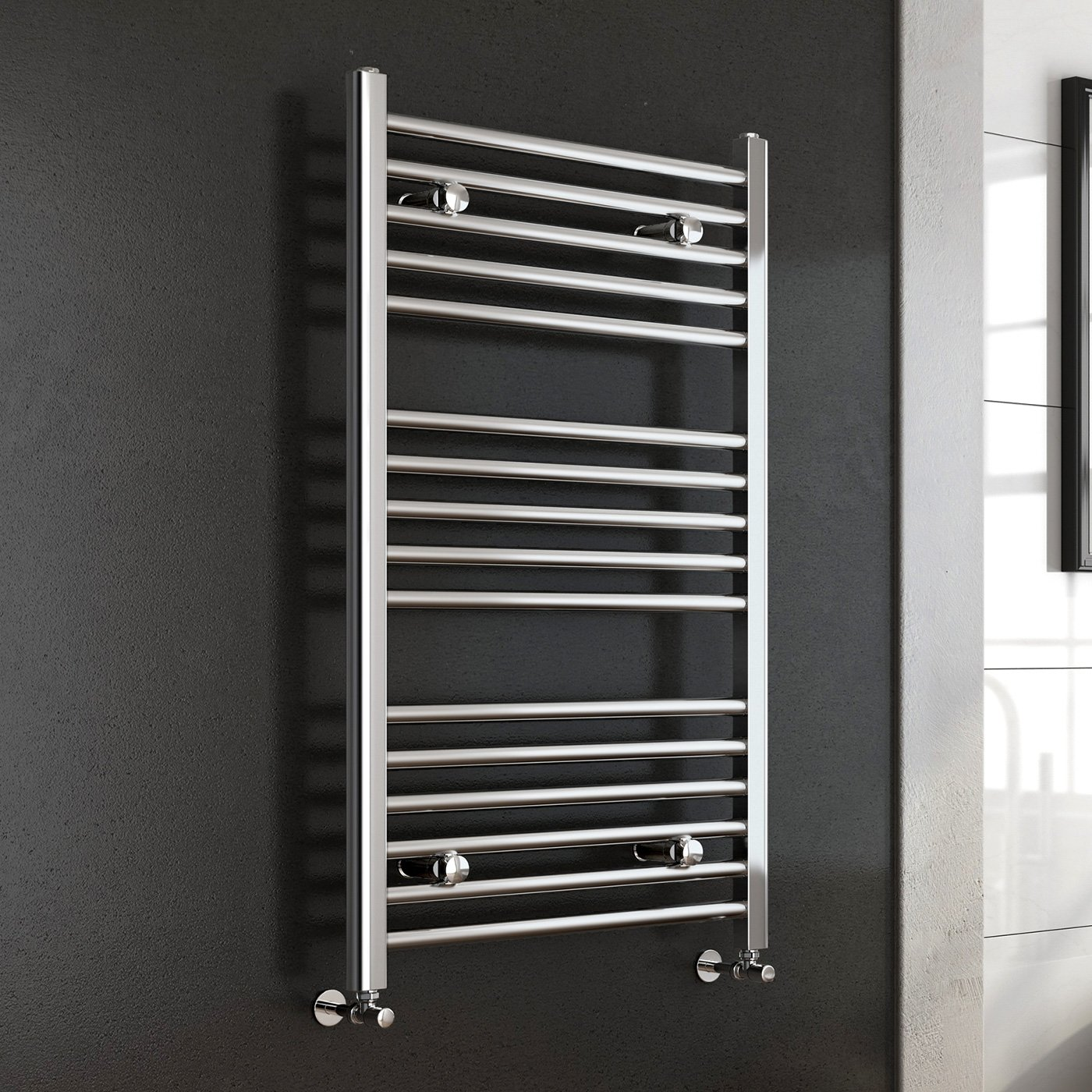 iBathUK 1600 x 600 Premium Straight Heated Towel Rail Chrome Bathroom Radiator