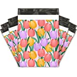 10x13 (100) Trendy Tulip Flowers Designer Poly Mailers Shipping Envelopes Premium Printed Bags