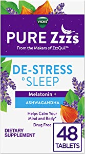 ZzzQuil PURE Zzzs, Nightly Sleep, Melatonin Sleep Aid Tablets with Chamomile, Lavender, & Valerian Root, Drug-Free, 48 Tablets