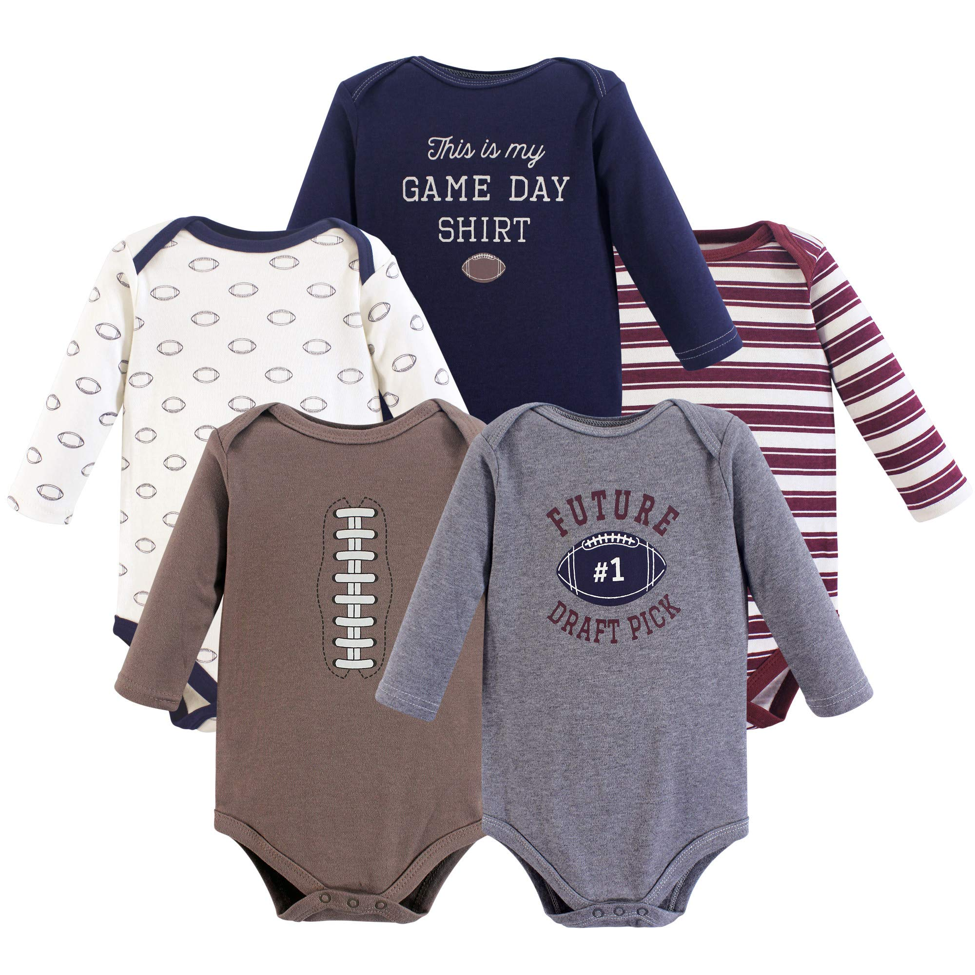 Hudson Baby Unisex Baby Long Sleeve Cotton Bodysuits, Football Season Long Sleeve 5 Pack, 12-18 Months (18M) by Hudson Baby