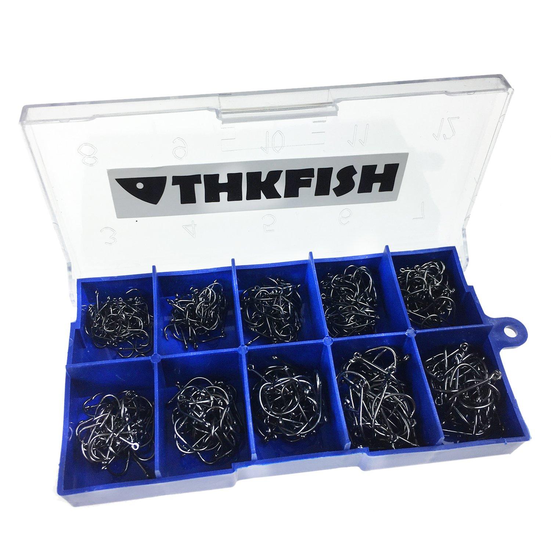 100 Stück 2 Boxen mit Angelhaken aus Edelstahl 14 x 7 mm und 16 x 8 mm