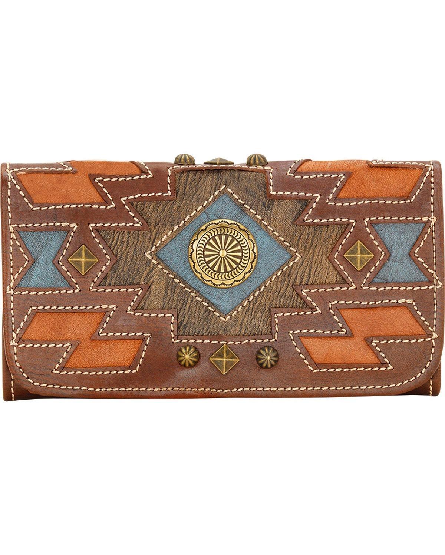 American West Women's Zuni Passage Tri-Fold Wallet Chestnut Brown Wallets