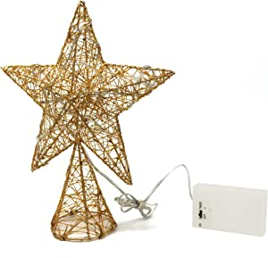 CVHOMEDECO. Golden Tree Top Star with Warm White LED Lights and Timer for Christmas Ornaments and Holiday Seasonal Décor, 8-Inch