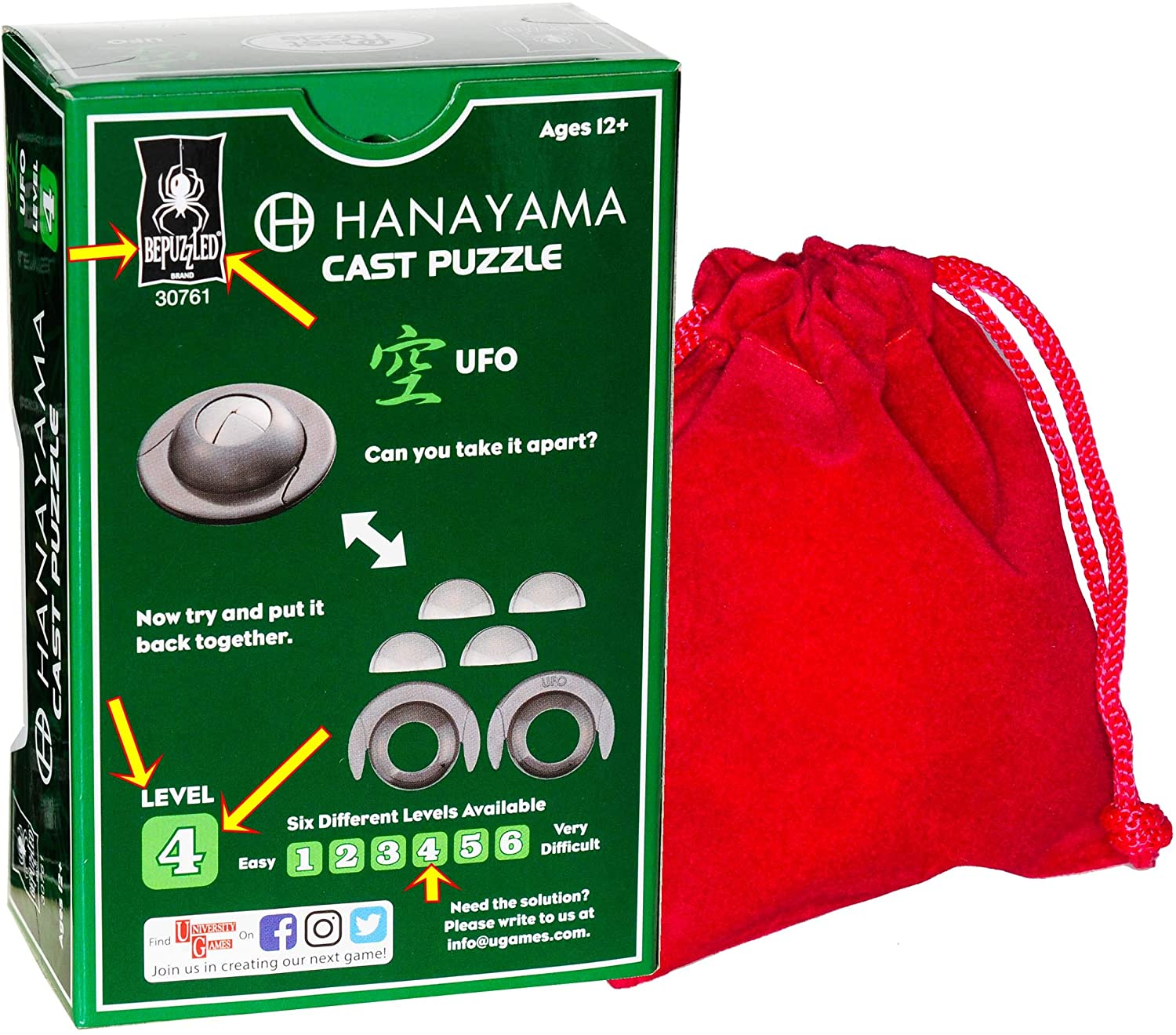 Level 4 Difficulty Rating UFO Hanayama Brain Teaser Puzzle New 2019 Release Bonus RED Velveteen Drawstring Pouch