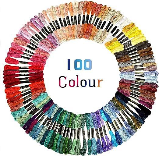 Hilos de bordar,100 Colores Algodón Bordado Kit de Hilos Cross ...