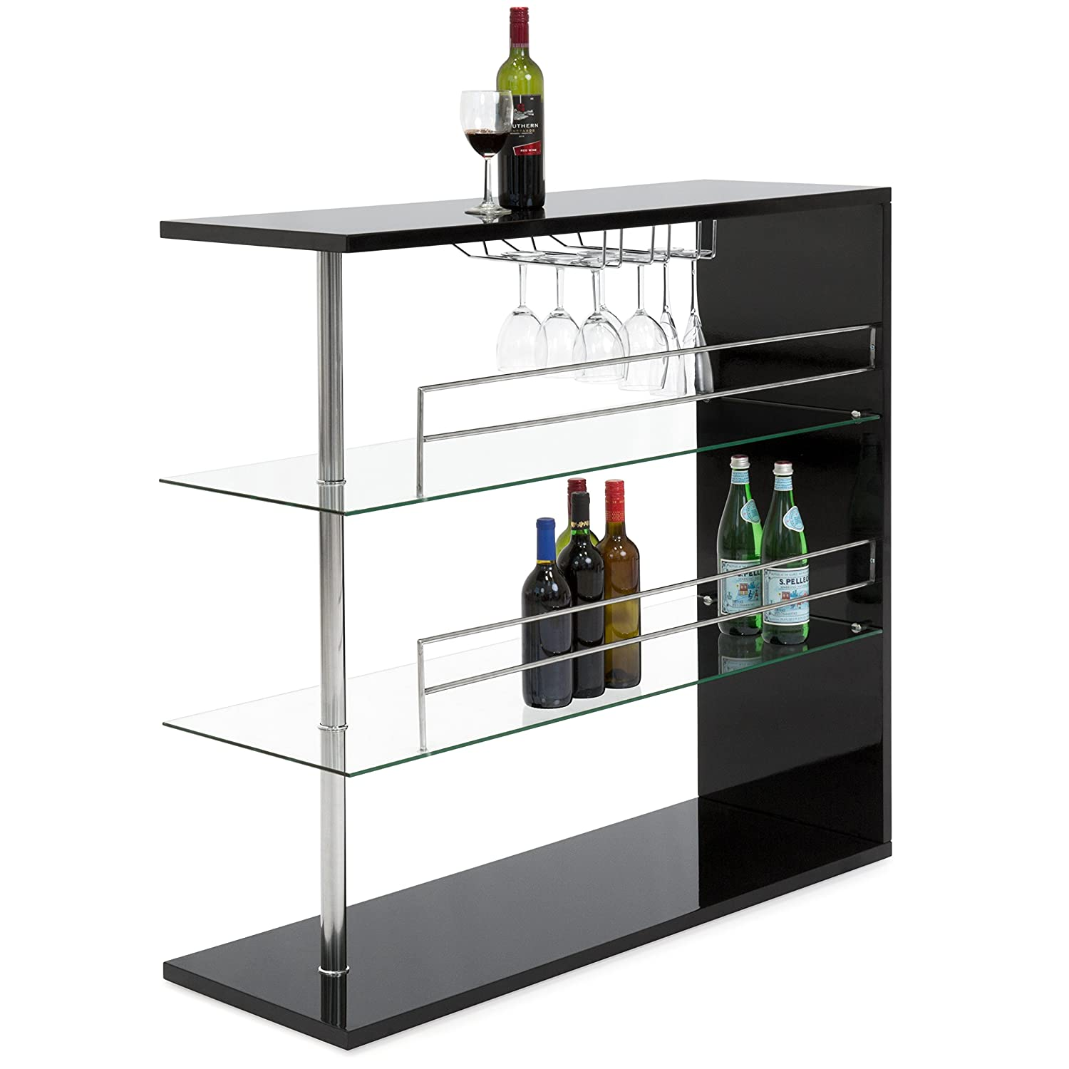Best Choice Products 3-Tier Tempered Glass Bar Table