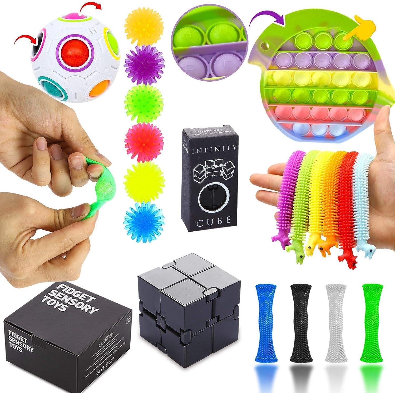 Fidget Cube,Box Stress Relief and Anti-Anxiety Tools with Push Pop Bubble Fidget Toy Set OBEIDA Sensory Fidget Toys Set