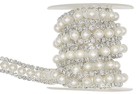 Silver Diamante Crystal Costume Decoration Rhinestone Trim 4 row 1Yard=Quantity1