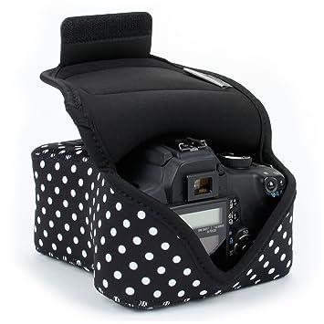 USA Gear - Funda para cámara réflex digital con protección de neopreno, enganche para cinturón y almacenamiento de accesorios, compatible con Nikon ...