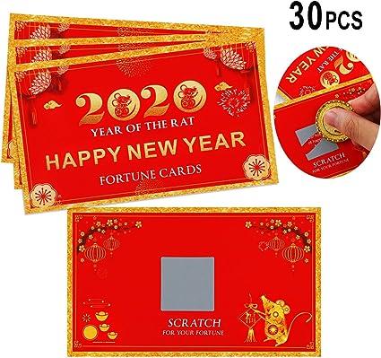 30 Piezas de Tarjetas de Fortuna de A/ño Nuevo de 2020 Tarjetas de Rascar de Fortuna Tarjetas de A/ño de Rata para Suministros de Fiesta de A/ño Nuevo