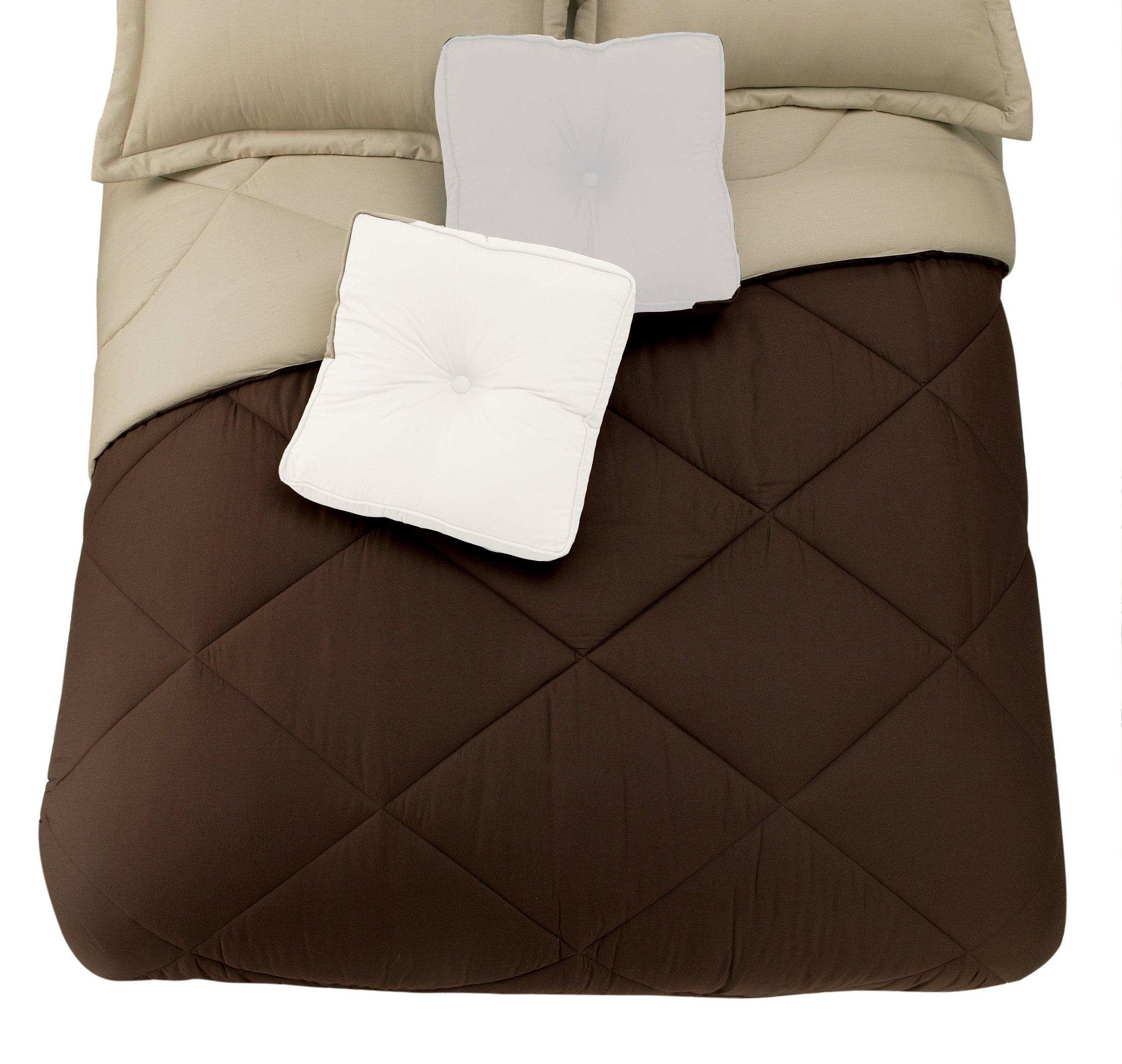 Presidio Square Collection Reversible Cotton Comforter, King, Brown/Linen