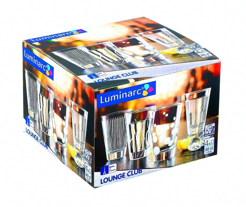 Luminarc 9205397 Lounge Club Lot de 4 Gobelets de Forme Basse 30 cl 17,2 x 17,2 x 12,3 cm