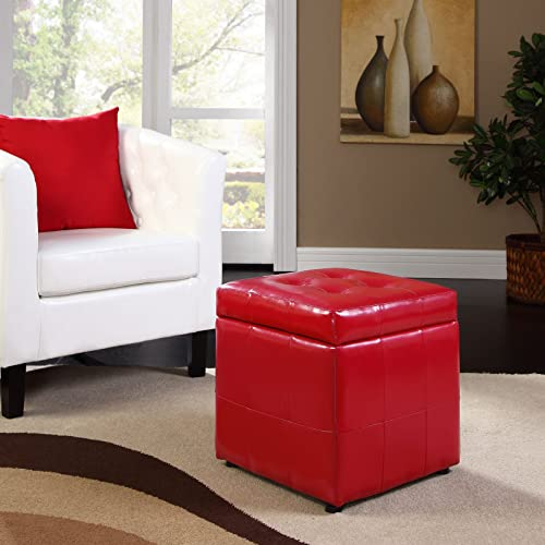 Modway Volt Storage Upholstered Vinyl Ottoman in Red