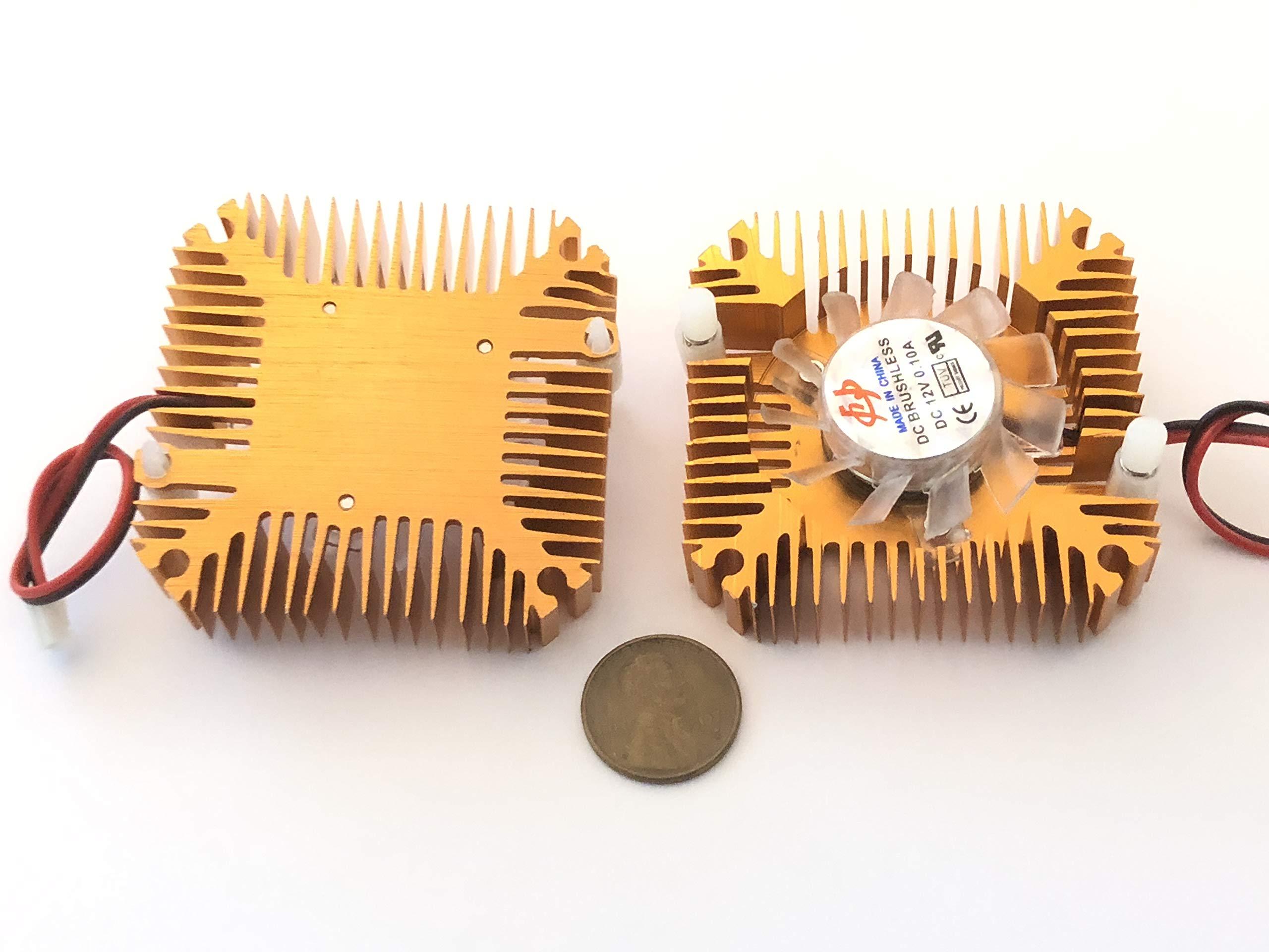 2 Pieces copper 12v 55mm 2PIN Aluminum Cooling Fan Heatsink Cooler VGA CPU A8