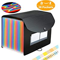 26 Pockets Accordian File Folder Organizer, Expanding Filing Box A4 Letter Size Expandable File Folders, Plastic Accordion Document Paper Coupon Bill Receipt Organizer with 3 A-Z Alphabet Colored Tabs