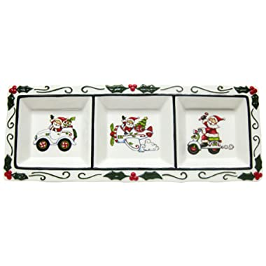 Cosmos Gifts 10668 3-Section Holiday Plate with Separate Designs, 16-Inch