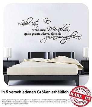 Wandtattoo Liebe ist...wenn zwei Menschen ganz genau wissen, dass sie  zusammengehören! Wandaufkleber Aufkleber Schlafzimmer 30 Farben zur Auswahl  ...