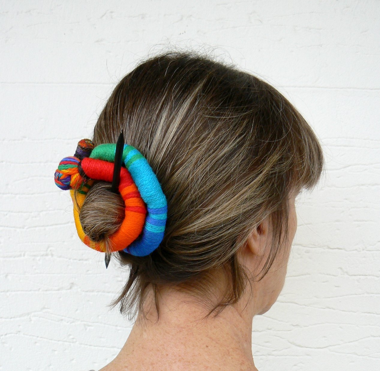 Ethnic bun holder Stick Slide Fascinator Rainbow jewelry Shawl brooch Large hair barrette Colorful Thick hair clip Ponytail holder