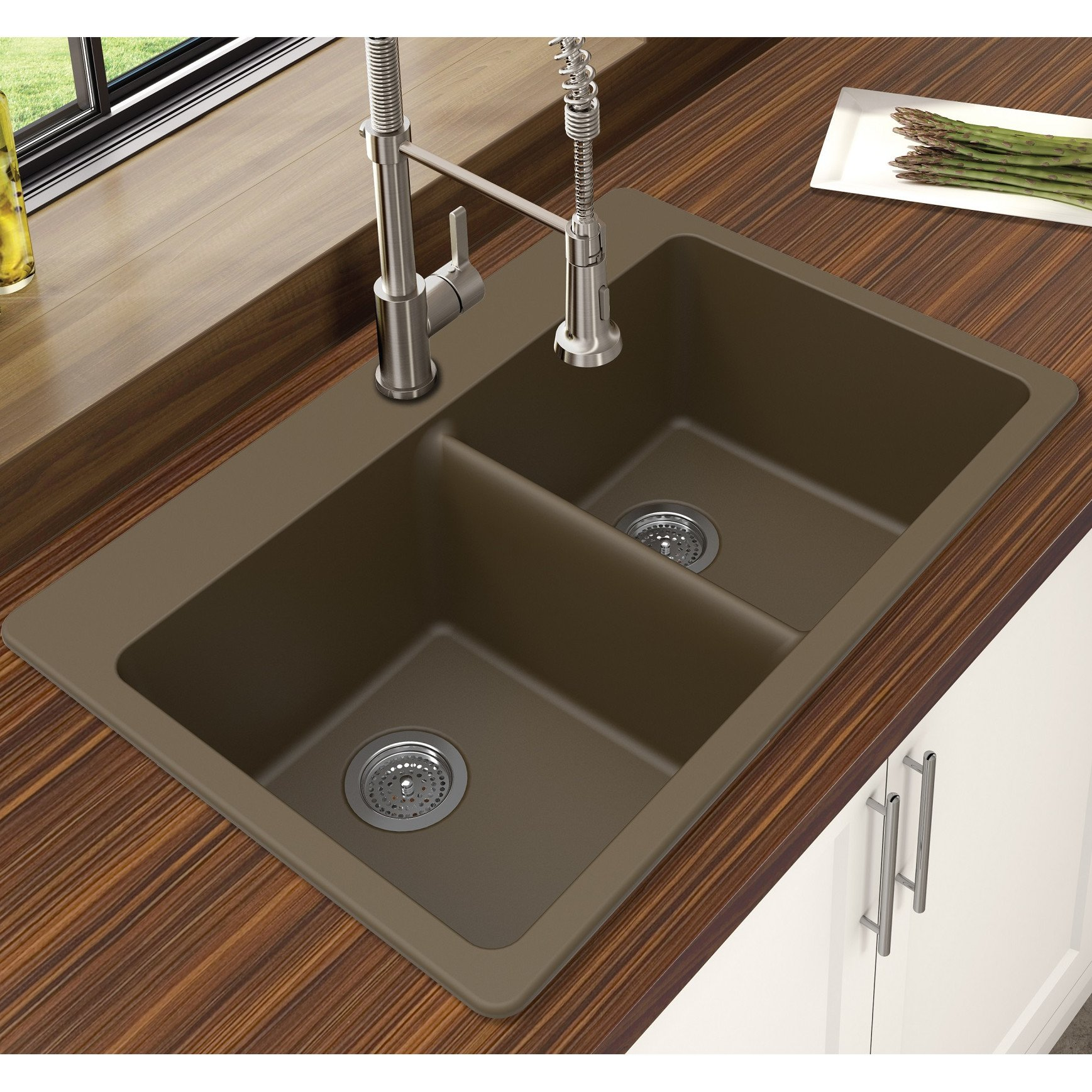 Winpro New Mocha Granite Quartz 33'' x 22'' x 9-1/2'' Equal Double Bowl Dual Mount Sink