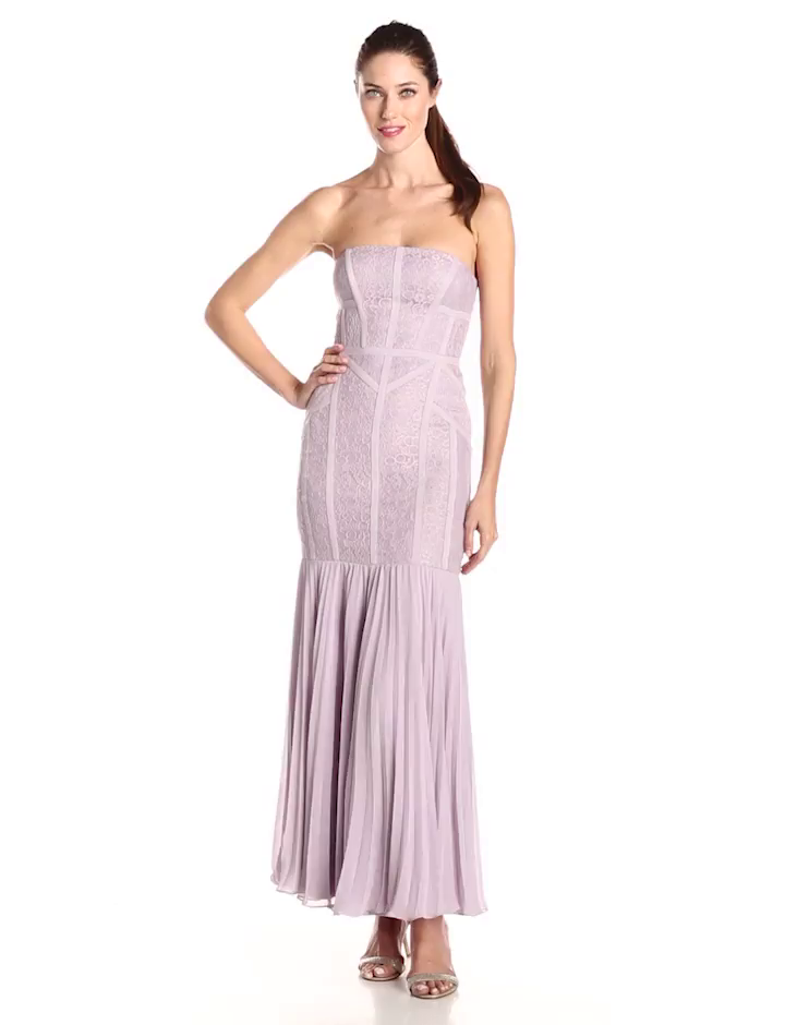 JS Collection Women\'s Multi-Lace Strapless Seamed Gown with Pleated ...