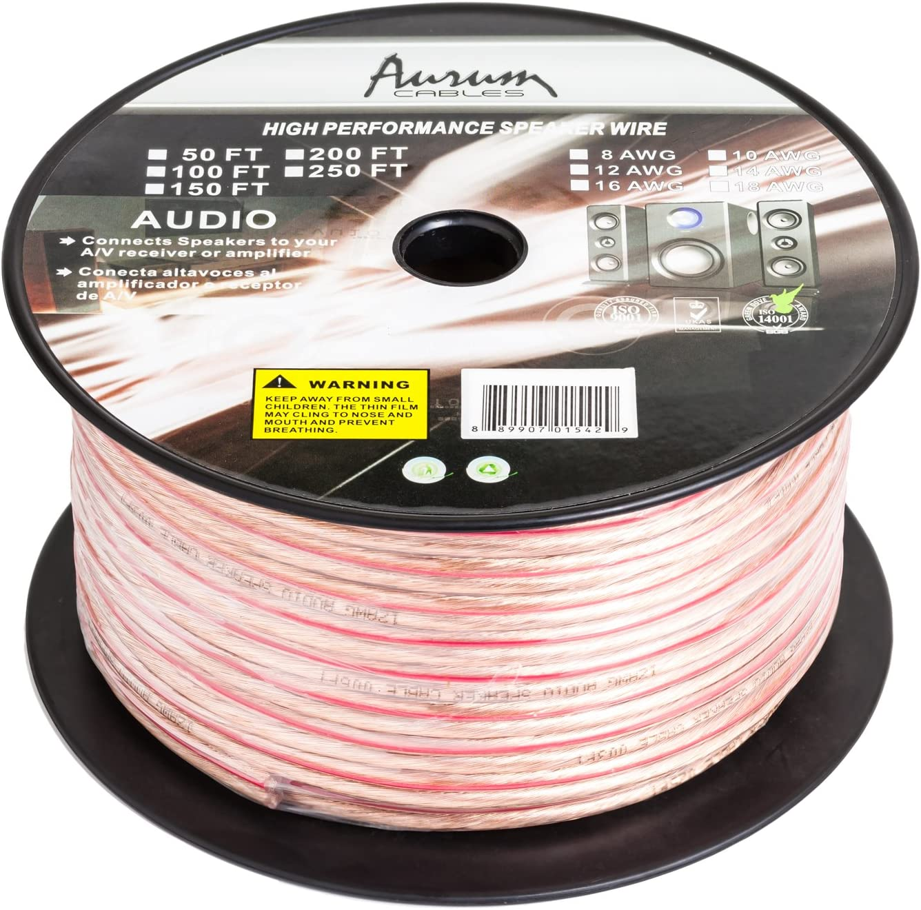 Aurum Cables 14 Gauge Transparent PVC Speaker Zip Wire