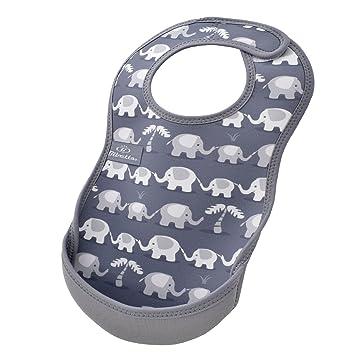 Bibetta Ultrabib Baby Bib with Pocket Grey Elephants Feeding Bibs for Babies