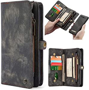 Simicoo Samsung A70 Leather Wallet Zipper Purse Detachable Card Slots Holder Flip Case Magnetic Wrist Strap Handle Shockproof Cover Pocket Wallet Handbag for Samsung A70 (Black, A70)