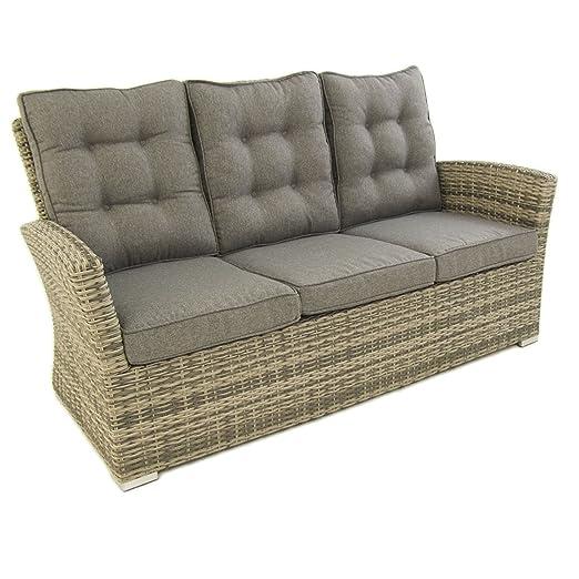 Sofá para jardín, 3 plazas, Color Gris, Aluminio y rattán sintético, Tamaño:80x170x93 cm,Cojín Antracita Incluido