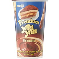 Meiji Premium Yan Yan Tiramisu Biscuit Stick, Tiramisu and cocoa cream, 44 g