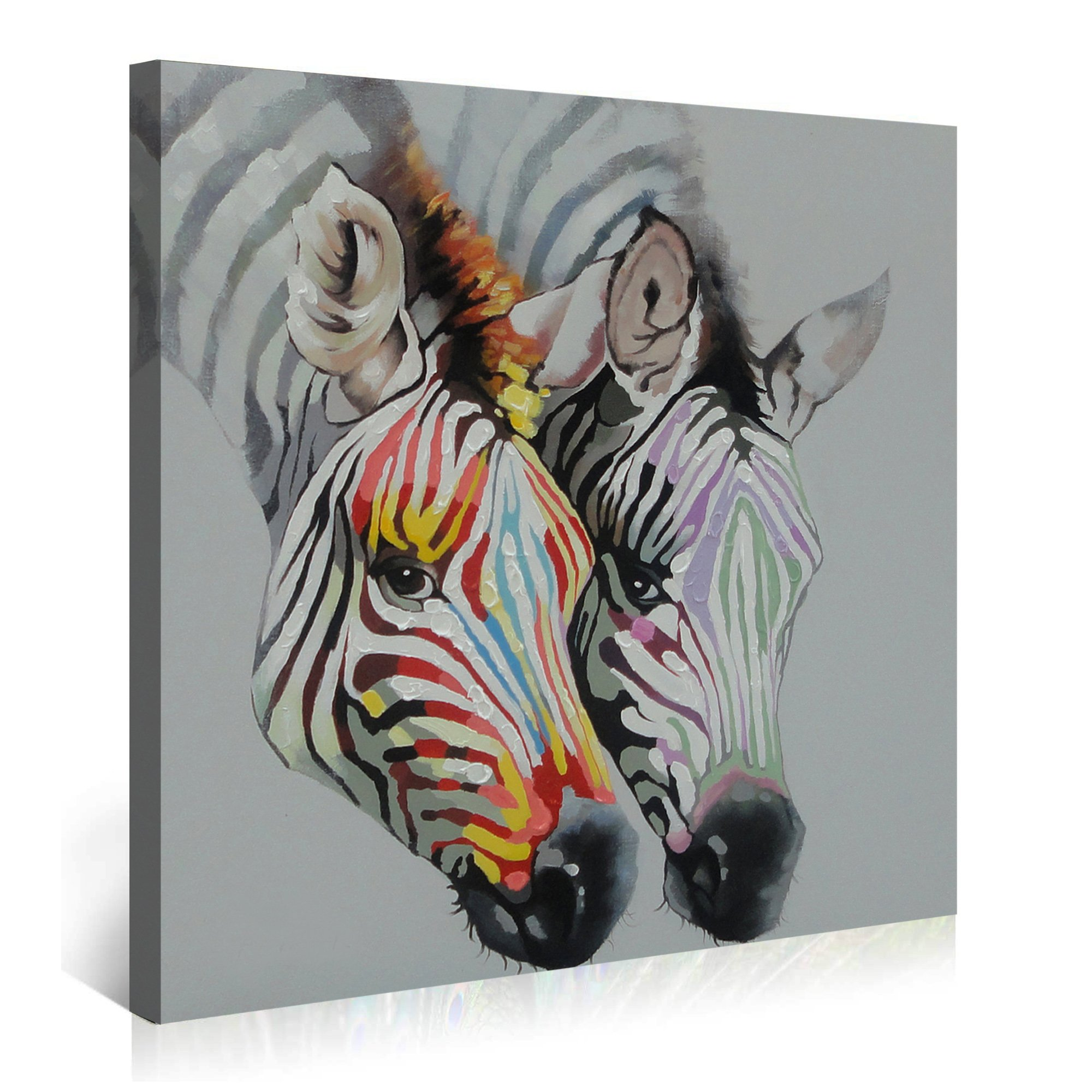 3Hdeko-Zebra Oil Painting on Canvas 30x30inch Gray Animal Artwork Home Decor for Living Room- Ready to hang! by 3Hdeko (Image #6)