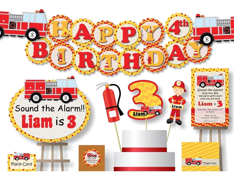 Pleasing Amazon Com Personalized Firetruck Fire Truck Fire Engine Personalised Birthday Cards Beptaeletsinfo