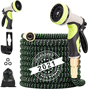Umirokin Lightweight Garden Hose Expandable ,Water Hose 100ft No-Kink Flexibility,3/4 Inch Solid Brass Fittings, Durable Expanding Garden Hose With Multi-layer Layers Latex and 9 Function Nozzle