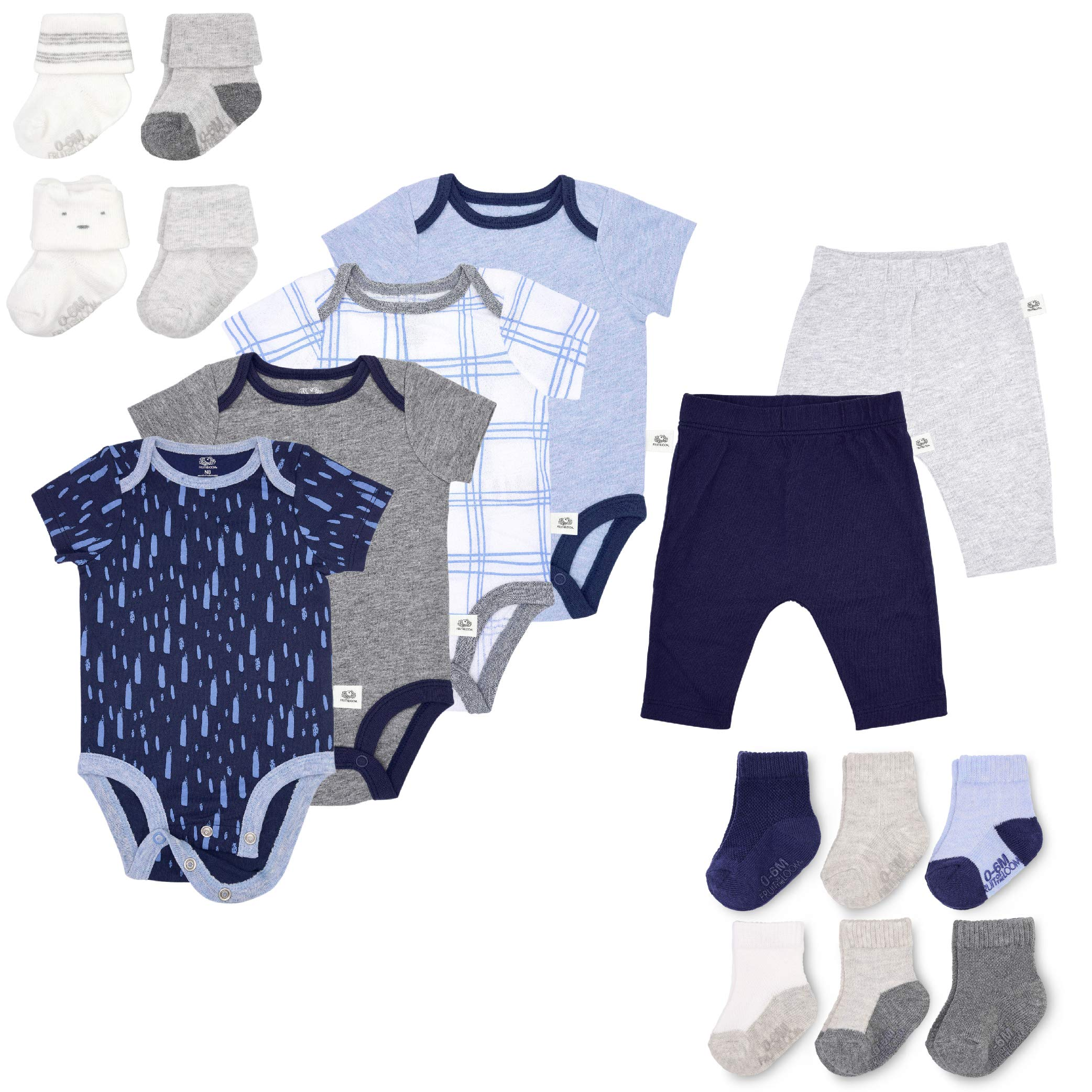 Fruit of the Loom Baby Gift Set 16-Piece Breathable Cooling Mesh Bodysuits, Pants and Socks - Unisex, Girls, Boys (New Born, Blue) by Fruit of the Loom