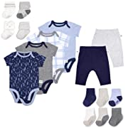 Fruit of the Loom Baby Gift Set 16-Piece Breathable Cooling Mesh Bodysuits, Pants and Socks - Unisex, Girls, Boys (6-9 Months, Blue)