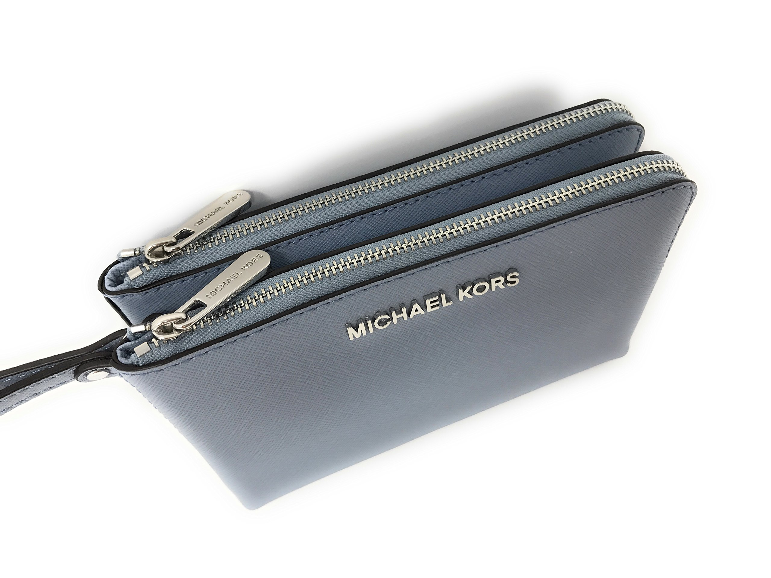 Michael Kors Jet Set Travel Large Double Gusset Wristlet Bag Purse in Pale Blue by Michael Kors (Image #1)