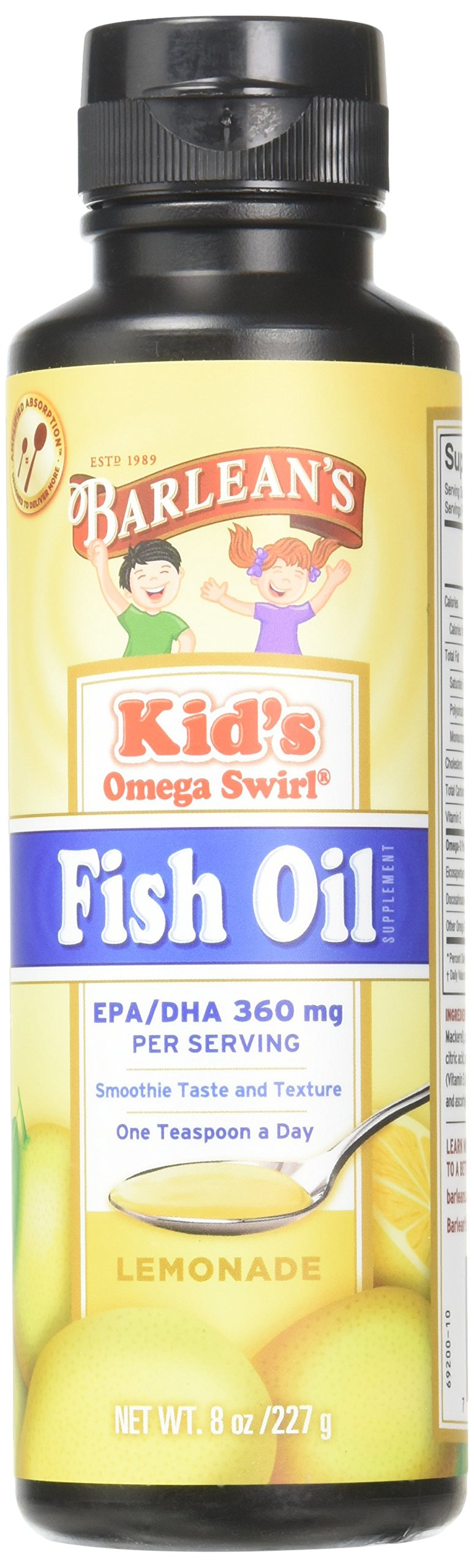 Barlean's Kids Omega Swirl Fish Oil, Lemonade Flavor, 8-oz