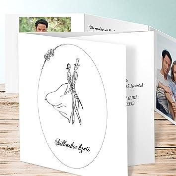 Einladungskarten Silberhochzeit Drucken, Glückstauben 200 Karten,  Doppelklappkarte 145x145 Inkl. Weißer Umschläge, Weiß