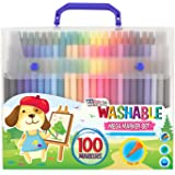 US Art Supply - 100 Mega Count Washable Marker Set - Fine Tip Markers with Vibrant and Bold Colors for Childrens & Kids Arts and Crafts