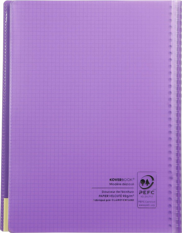 Un cahier /à spirale Koverbook 160 pages 21x29,7 cm 90g grands carreaux couverture polypro enveloppante transparente couleur al/éatoire Clairefontaine 376401C