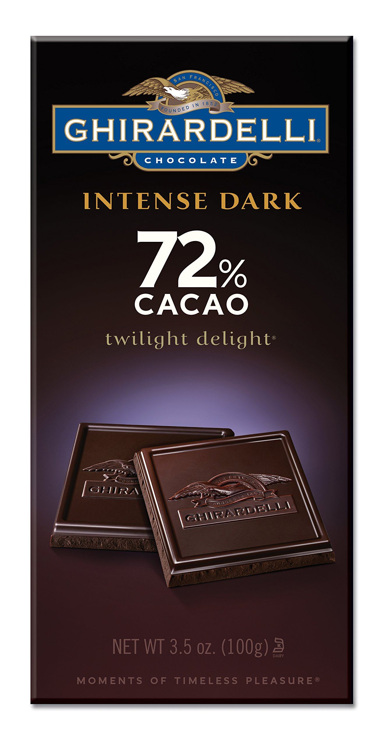 Ghirardelli Chocolate Intense Dark Bar, Twilight Delight 72% Cacao, 3.5-Ounce Bars (Pack of 6)