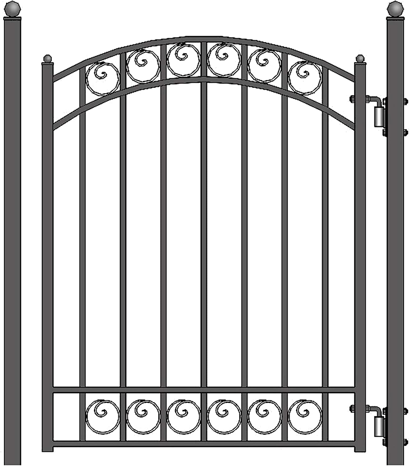ALEKO SET12X4MUNS Munich Style Galvanized Single Swing Steel Gate Set Driveway Security Gate /& Pedestrian Gate Black