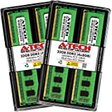 A-Tech 32GB (4x8GB) DDR3 1600MHz DIMM PC3-12800 UDIMM Non-ECC 2Rx8 Dual Rank 1.5V CL11 240-Pin Desktop Computer RAM…