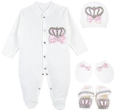 c998c3aa015f Amazon.com  Lilax Baby Girl Jewels Crown Layette 4 Piece Gift Set 3 ...