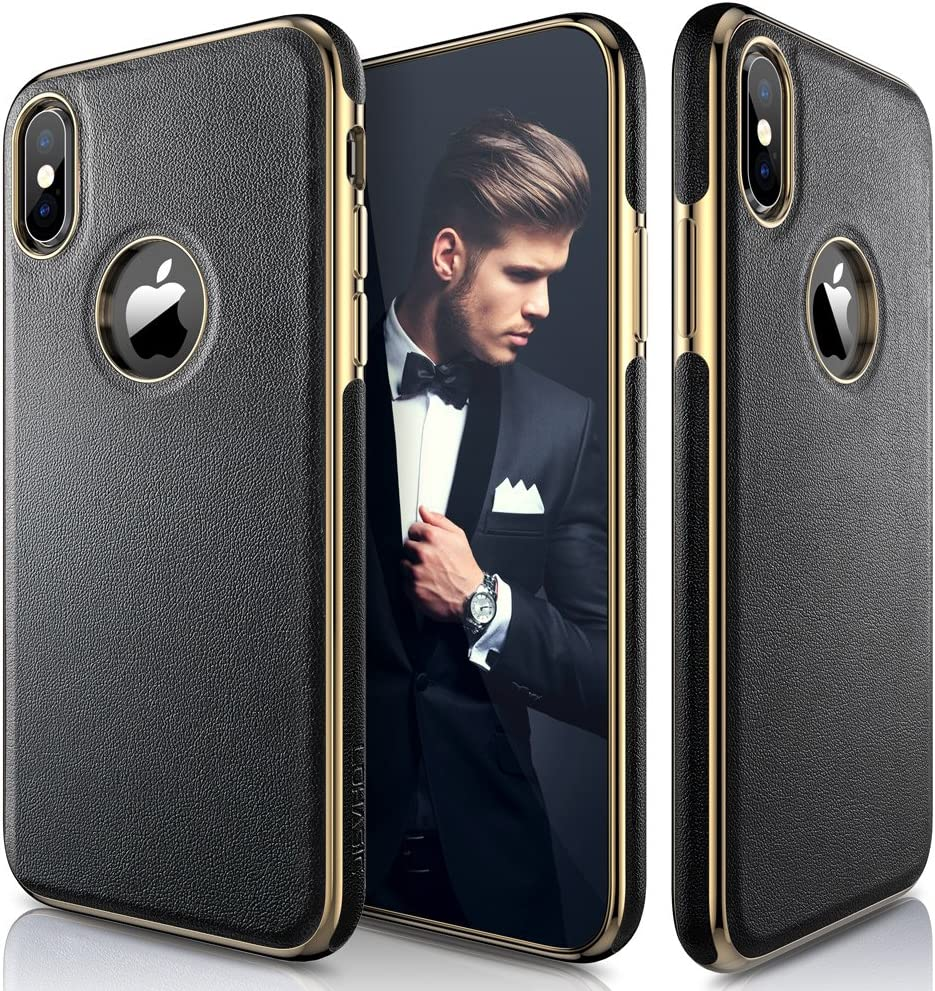 LOHASIC for iPhone Xs Case, iPhone X Case Luxury Leather Ultra Slim & Thin Soft Flexible Electroplated Bumper Anti-Slip Grip Scratch Resistant Protective Cover for iPhone X XS (2018) - Black