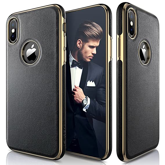 premium selection 18906 341c5 LOHASIC iPhone Xs Case, iPhone X Case Luxury Leather Ultra Slim & Thin Soft  Flexible Gold Electroplated Bumper Anti-Slip Grip Scratch Resistant ...
