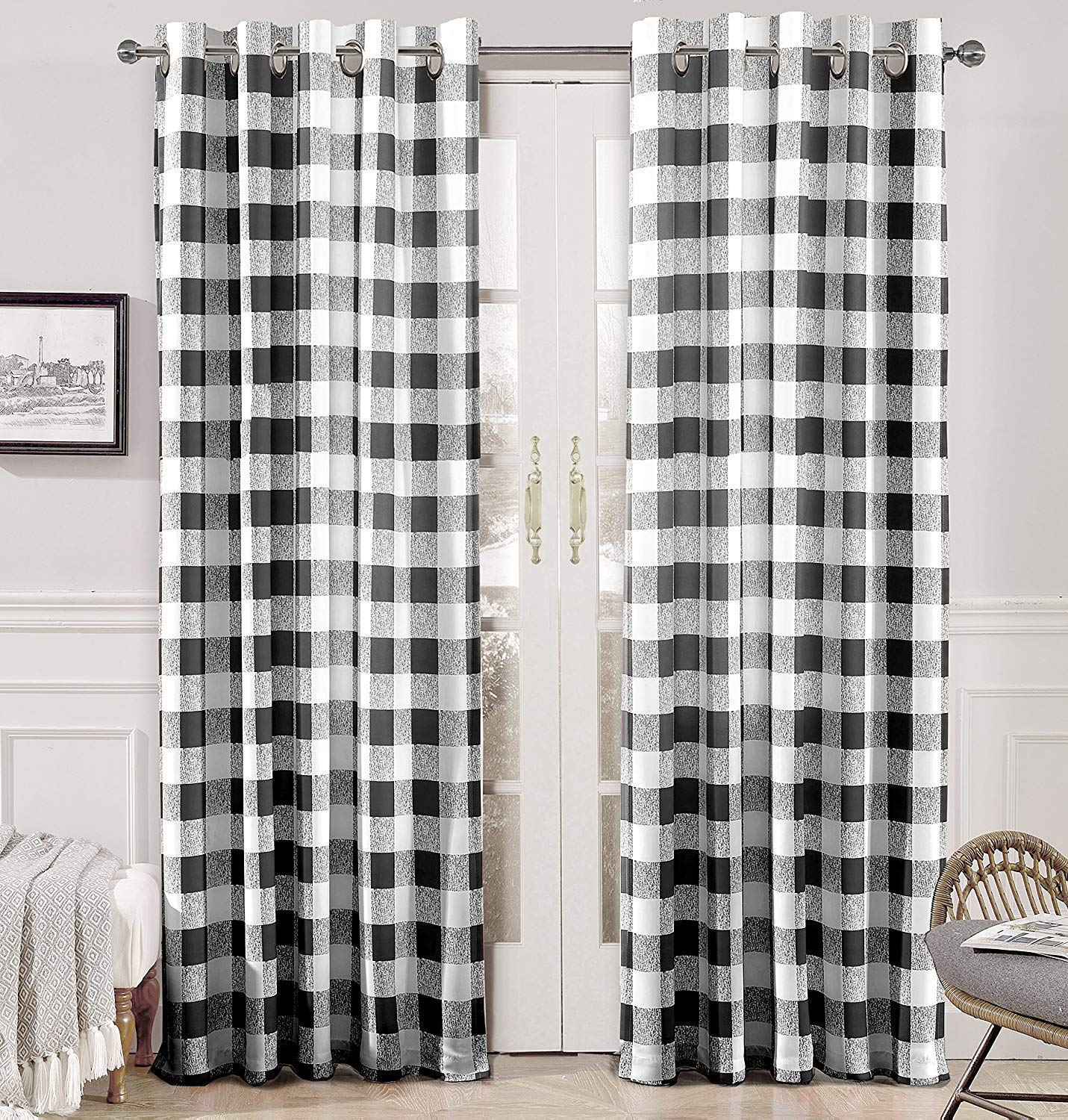 DriftAway Buffalo Checker Pattern Lined Thermal Insulated Blackout Room Darkening Grommet Window Curtains Printed Plaid 2 Layer Set of 2 Panels 52 Inch by 84 Inch Black by DriftAway