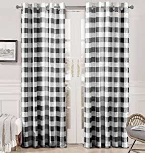 DriftAway Buffalo Checker Pattern Lined Thermal Insulated Blackout Room Darkening Grommet Window Curtains Printed Plaid 2 Layer Set of 2 Panels 52 Inch by 84 Inch Black