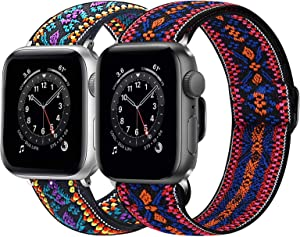 BNBIDEN 2 Pack Stretchy Band Compatible with Apple Watch Series SE/6/5/4/3/2/1, Adjustable Soft Straps Compatible with iWatch 38mm 40mm 42mm 44mm for Women Men, 42/44mm